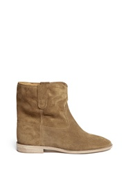 Etoile Isabel Marant 'Crisi' Ruche Cuff Suede Ankle Boots Brown