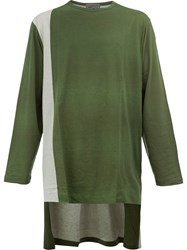 Yohji Yamamoto Printed High Low Hem Top Green