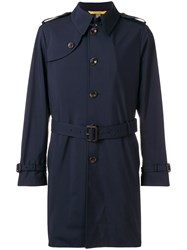 Canali Short Trench Coat Blue