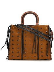 Coach Studded Tote Bag Brown