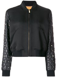 Versace Quilted Sleeve Bomber Jacket Women Silk Cotton Acrylic Acetate 40 Black