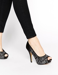 Little Mistress Platform Peep Toe Embellished Court Shoes Blacksilver