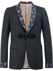 Gucci Patterned Shawl Lapel Blazer Blue