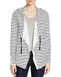 Cupio Striped Hooded Cardigan Black White