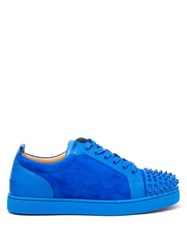 Christian Louboutin Louis Junior Studded Toe Suede Trainers Blue