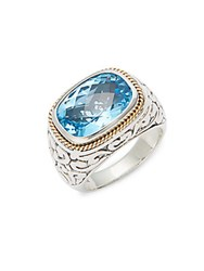 Effy Blue Topaz 18K Yellow Gold And Sterling Silver Ring