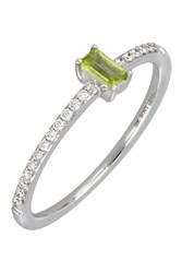Bony Levy 18K White Gold Prong Set Peridot And Pave Diamond Band Stacking Ring