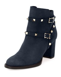 Valentino Rockstud Suede 70Mm Ankle Bootie Blue