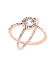 Michael Kors Crystal Double Band Ring Rose Goldtone