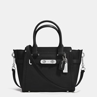 Coach Swagger 21 Carryall In Pebble Leather Silver Black