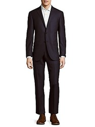 Corneliani Solid Virgin Wool Suit Dark Blue