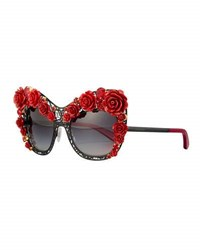 Dolce And Gabbana Lace Rose Rhinestone Cat Eye Sunglasses Black Red Black Red
