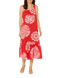 Rafaella Ruffled And Printed Sleeveless Dress Red