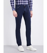 Corneliani Regular Fit Tapered Stretch Cotton Trousers Navy