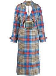 Charles Jeffrey Loverboy Tartan Shepherd Trench Coat Blue