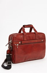 Men's Bosca Double Compartment Leather Briefcase Brown Cognac