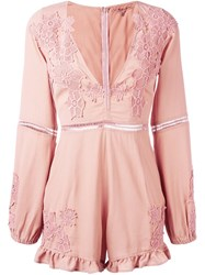 For Love And Lemons V Neck Playsuit Pink And Purple
