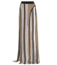 Balmain Knitted Wide Leg Pants With Front Slits Multicoloured