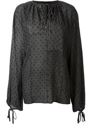 Haider Ackermann Semi Sheer Polka Dot Pattern Tie Neck Relaxed Fit Blouse Grey