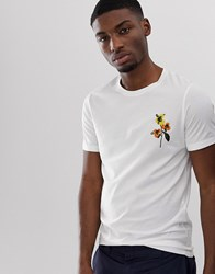 Selected Homme T Shirt With Floral Embroidery White