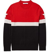 Givenchy Star Appliqued Colour Block Wool Blend Sweater Red
