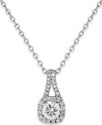 Macy's Diamond Halo Pendant Necklace 3 4 Ct. T.W. In 14K White Gold
