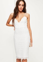 Missguided White Lace Strappy Bodycon Dress