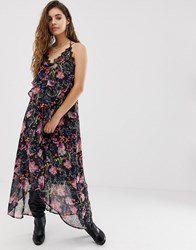 Religion Cami Midi Dress With Sheer Floral Layer Black