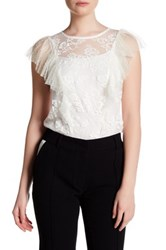 Abs By Allen Schwartz Pleated Sleeve Lace Blouse White