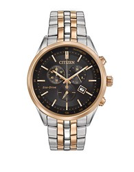 Citizen Eco Drive Two Tone Stainless Steel Chronograph Rose Gold