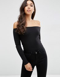 Asos Long Sleeve Off Shoulder Top In Rib Black