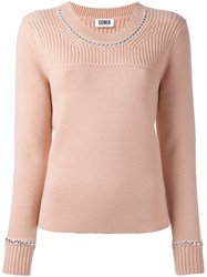 Sonia Rykiel By Cable Knit Detail Jumper Nude And Neutrals