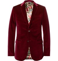 Gucci Burgundy Slim Fit Stretch Cotton Velvet Blazer Burgundy