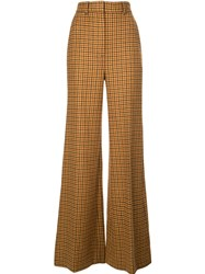 Khaite Flared Gingham Trousers Brown