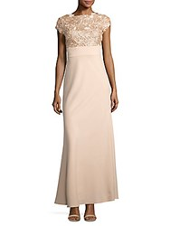 Js Collections Sequin And Floral Embroidered Cap Sleeved Gown Porcelain