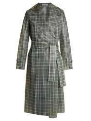Wanda Nylon Tie Waist Coated Tartan Trench Coat Brown Multi