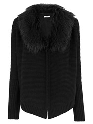 Oasis Faux Fur Trim Drape Cardigan Black