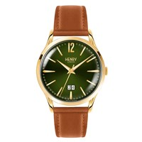 Henry London 41Mm Chiswick Tan Leather Jumbo Date Watch Gold Green Brown