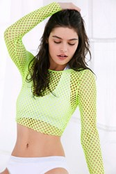 Out From Under Diamond Fishnet Long Sleeve Top Bright Yellow