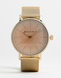 Bellfield Mesh Strap Watch In Gold With Pink Face