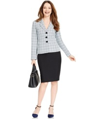 Le Suit Three Button Tweed Jacket Skirt Suit