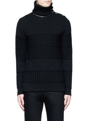 Givenchy Detachable Turtleneck Wool Cotton Sweater Black