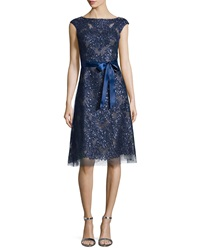 Rickie Freeman For Teri Jon Cap Sleeve Lace Cocktail Dress