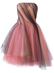 Oscar De La Renta Tulle Strapless Dress Multicolour