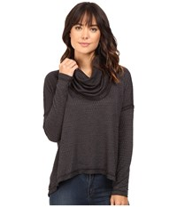 Heather Basket Jacquard Cowl Neck Pullover Black Women's Clothing