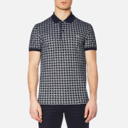 Lacoste Men's Oversized Houndstooth Printed Polo Shirt Navy