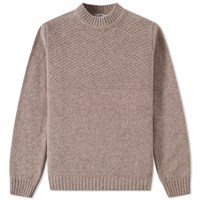 Inis Meain Button Collar Moss Knit Brown