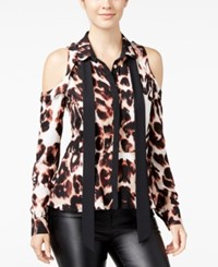 Xoxo Juniors' Contrast Ruffle Cold Shoulder Peplum Blouse Leopard Multi