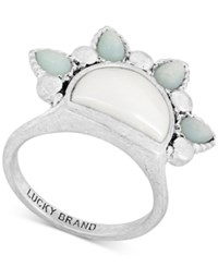 Lucky Brand Silver Tone Stone And Imitation Pearl Sunrise Ring