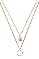 Forever 21 Layered Cubic Zirconia Necklace Gold Clear